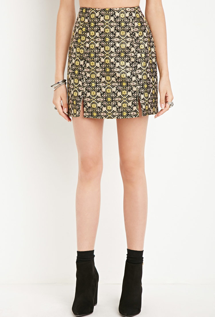 5f5bdf7a5f Forever 21 Tile Pattern Mini Skirt in Yellow - Lyst