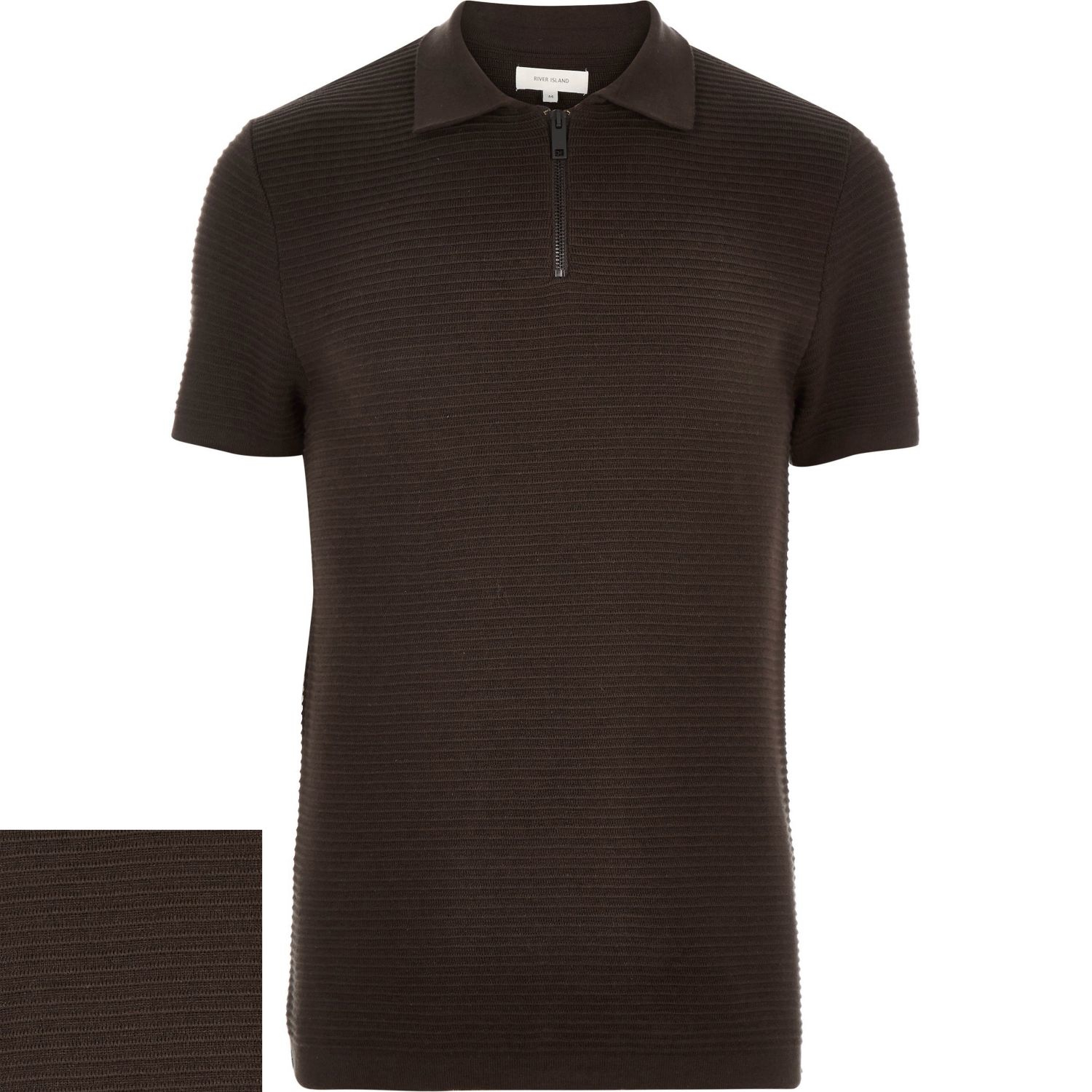 River island dark brown zip neck ribbed polo shirt in for Black brown mens shirts