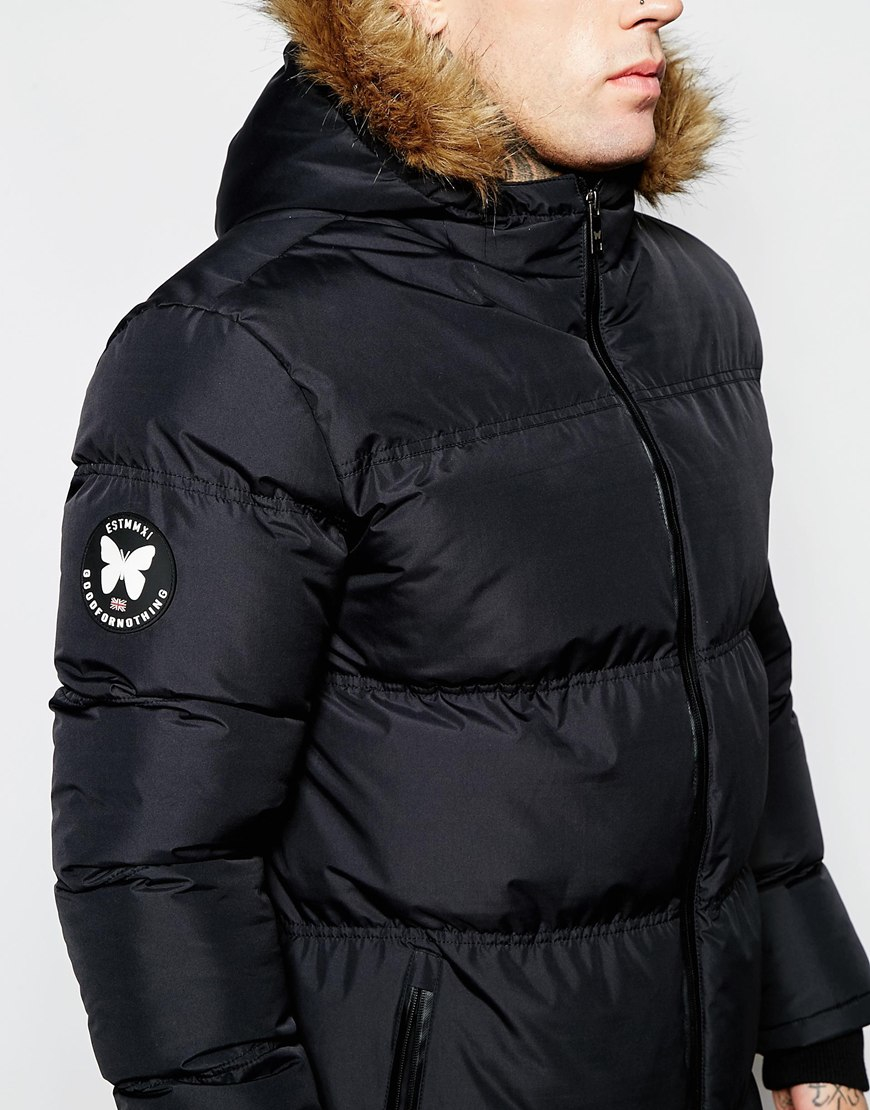 Good for nothing Padded Jacket With Faux Fur Hood in Black for Men ...
