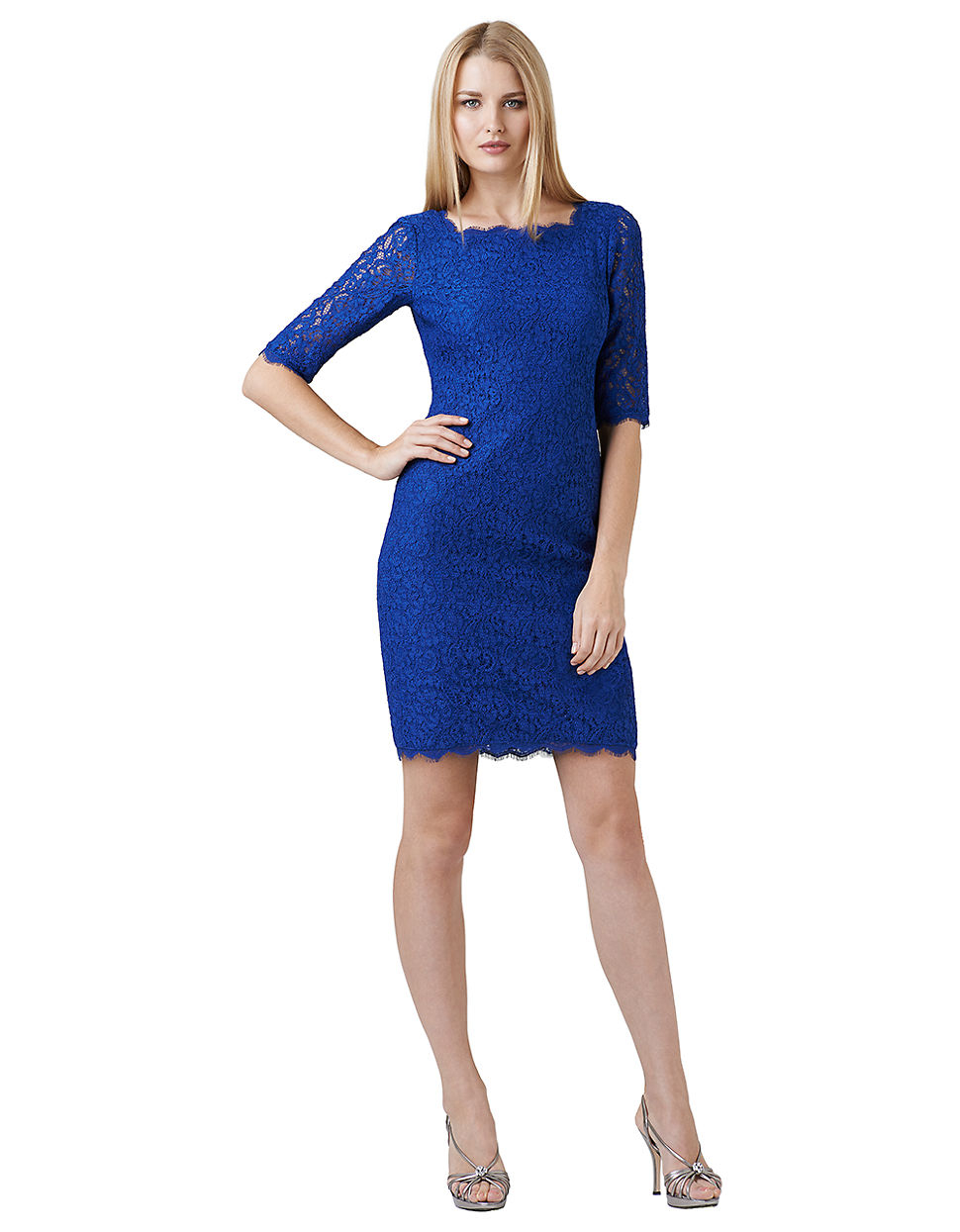 Lyst - Adrianna Papell Lace Cocktail Dress in Blue