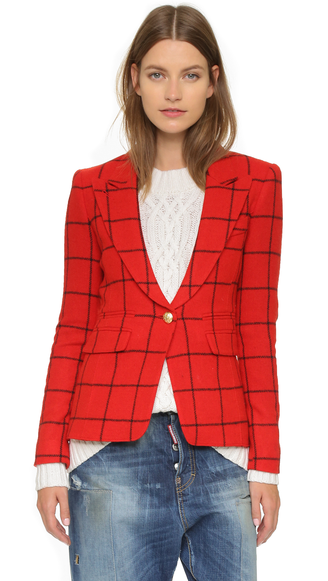 Lyst smythe peaked lapel blazer in red for Smythe designer