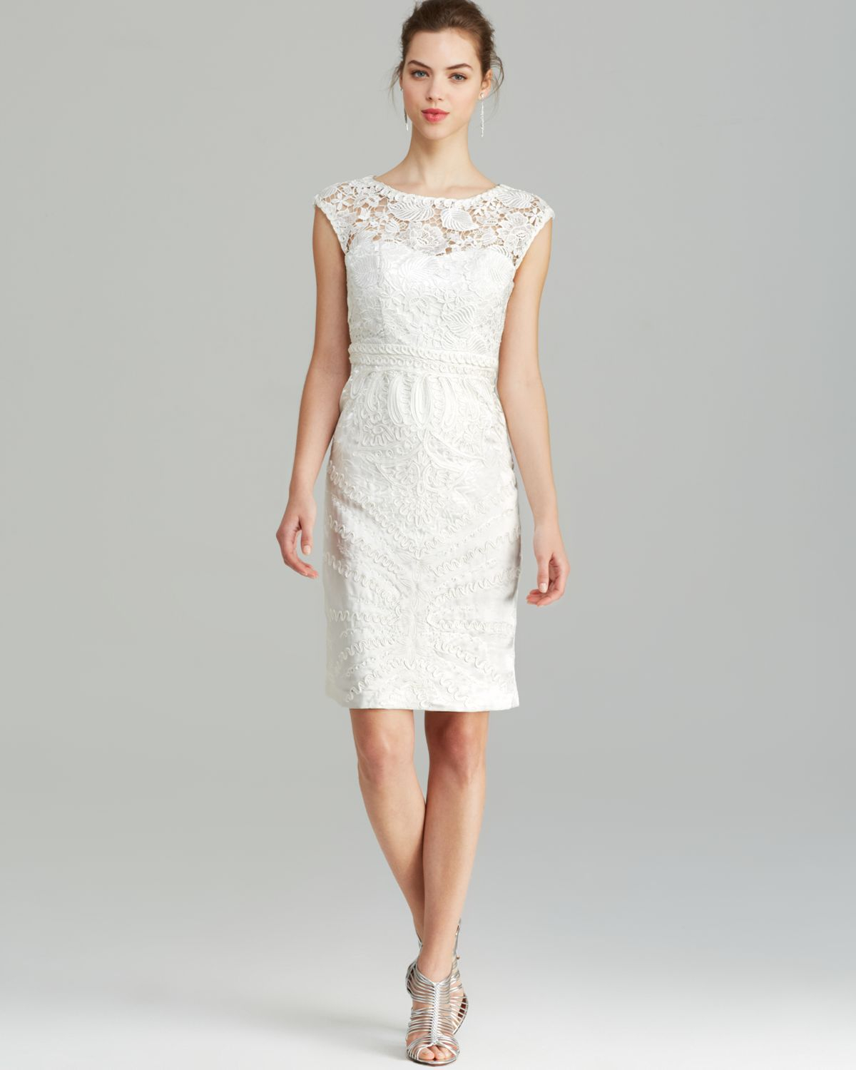 Sue wong Dress Cap Sleeve Eyelet Soutache in White | Lyst