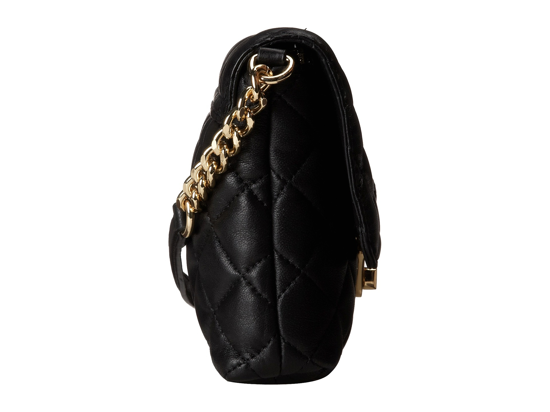 Calvin Klein Quilted Lamb Leather Crossbody In Black Gold Metallic Lyst