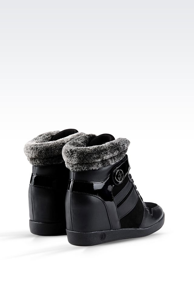 armani jeans high top sneaker in leather with wedge in. Black Bedroom Furniture Sets. Home Design Ideas