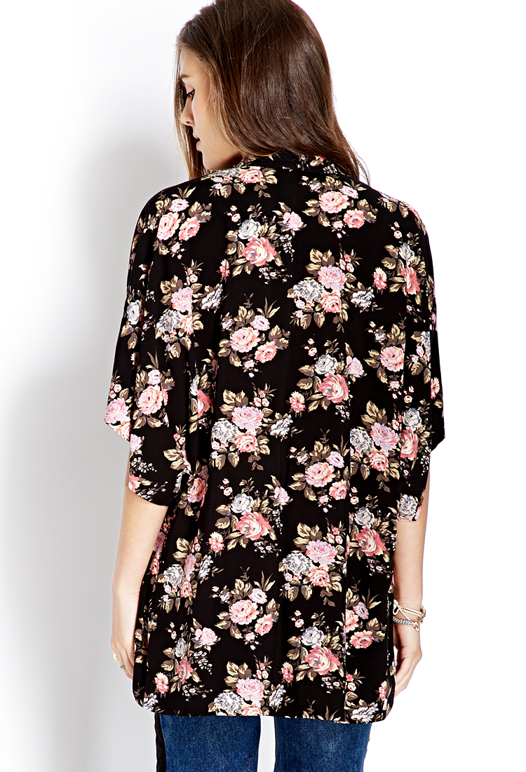 Lyst Forever 21 Free Spirit Floral Kimono In Pink