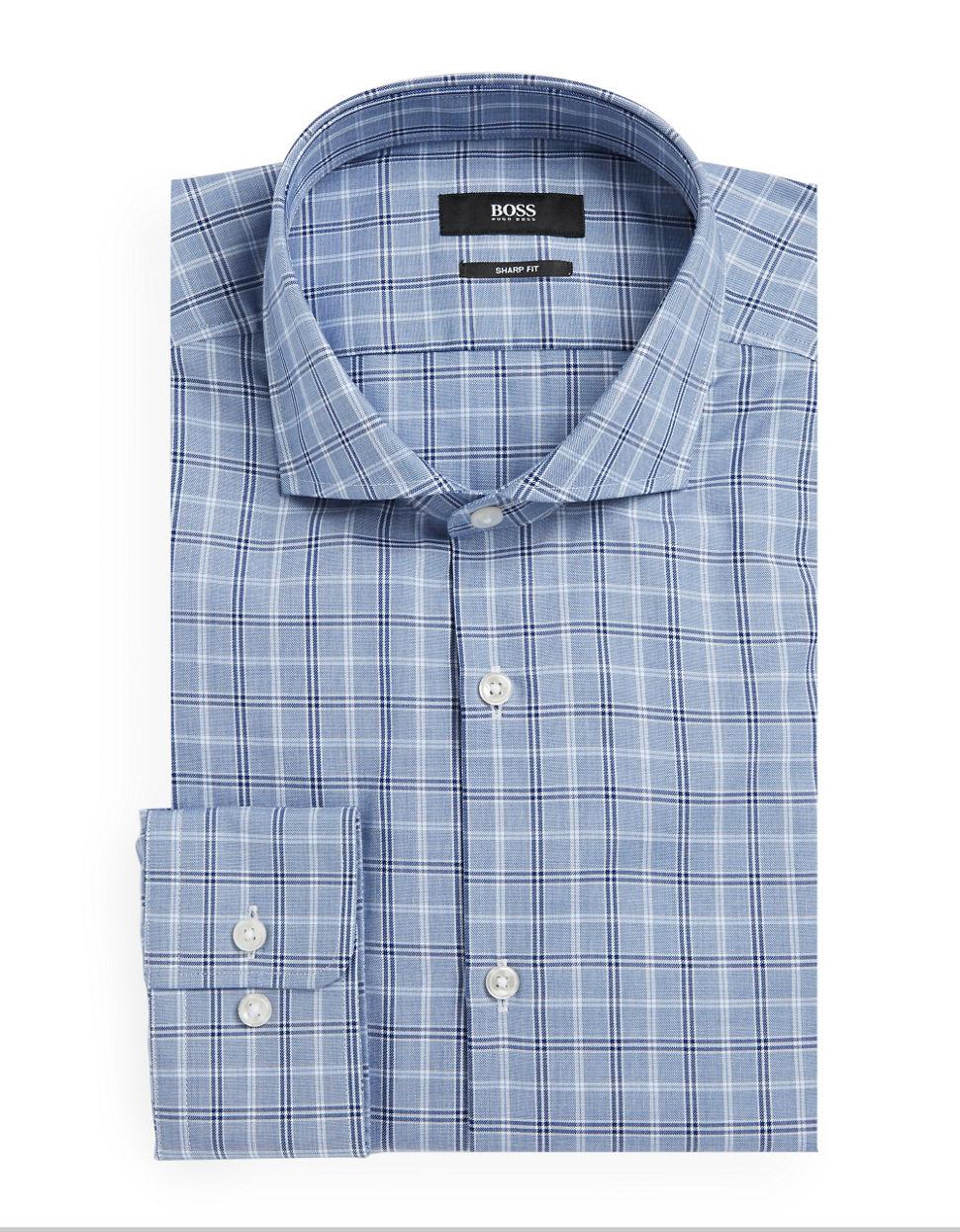 Boss Plaid Dress Shirt In Blue For Men Navy Lyst