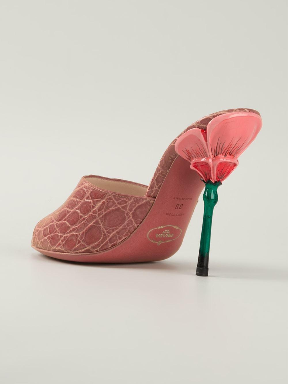 Lyst Prada Flower Heel Mules In Pink