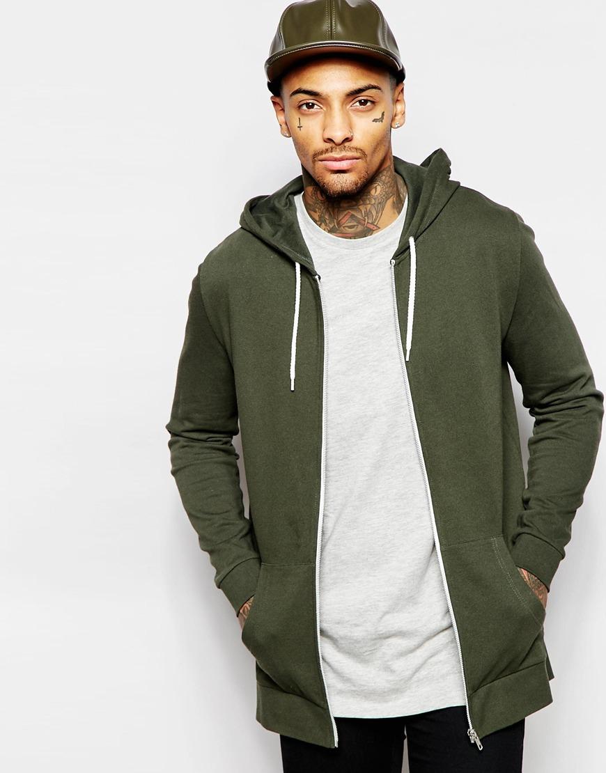 Lyst - ASOS Longline Zip Up Hoodie In Khaki in Green for Men 826b18e09