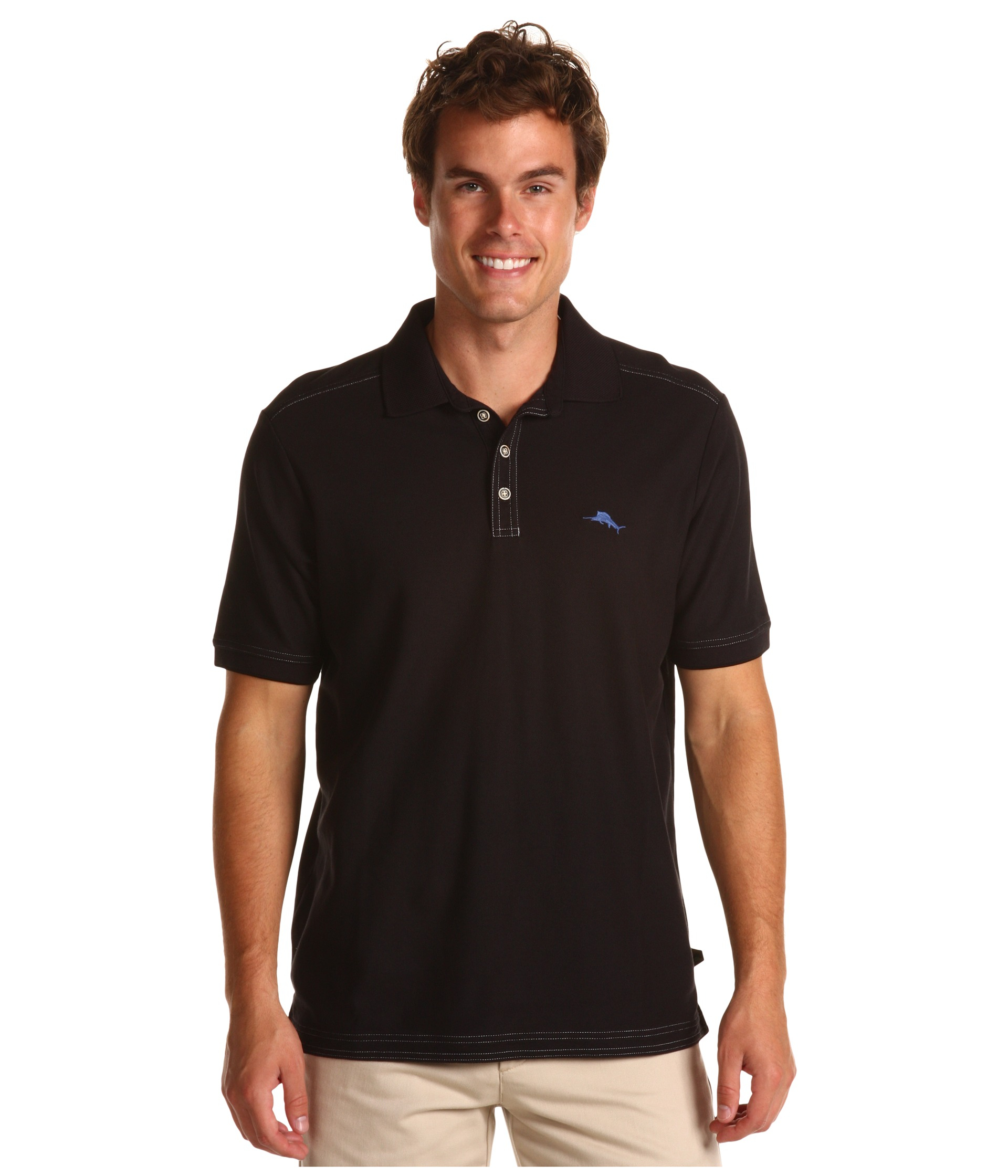 Tommy Bahama The Emfielder Polo Shirt In Black For Men