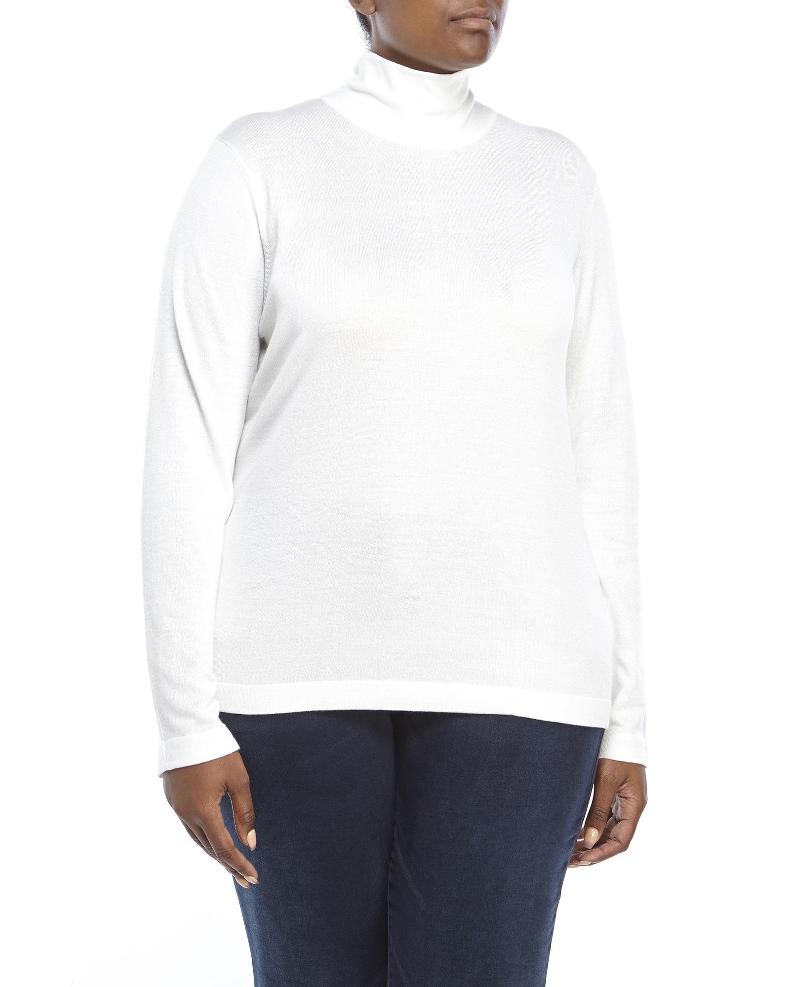 Lyst Joseph A Plus Size Scrunch Turtleneck Sweater In White