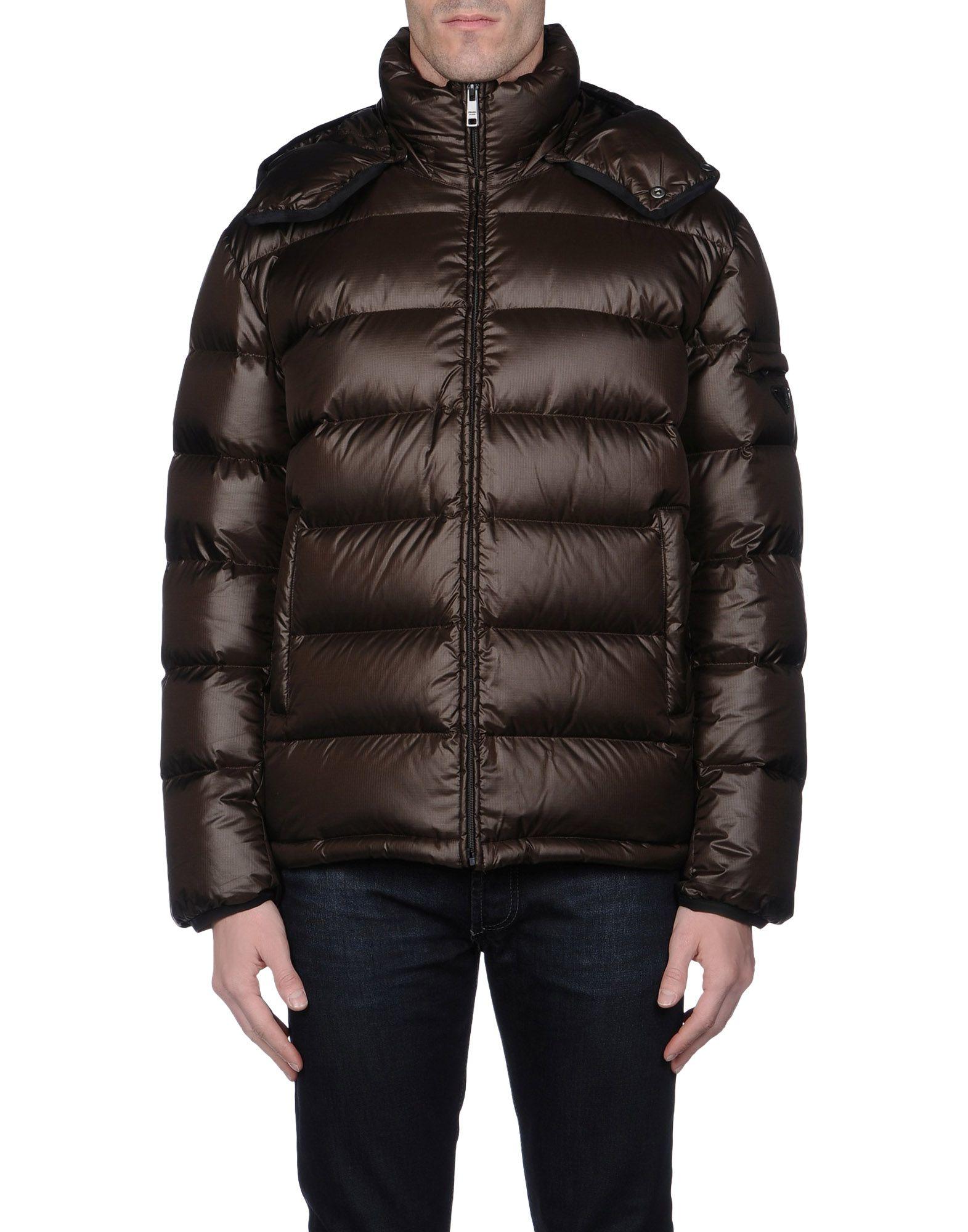 Prada Sport Down Jacket In Brown For Men Dark Brown Lyst
