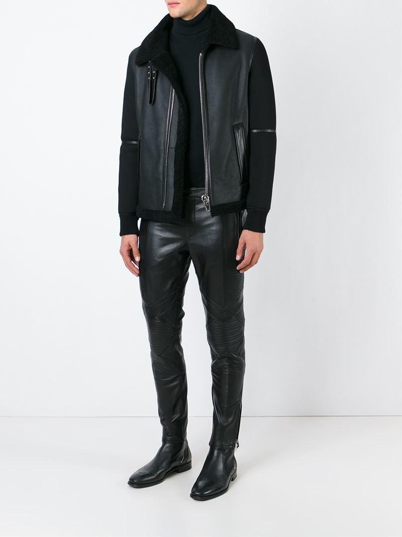 Les Hommes Leather Biker Trousers in Black for Men