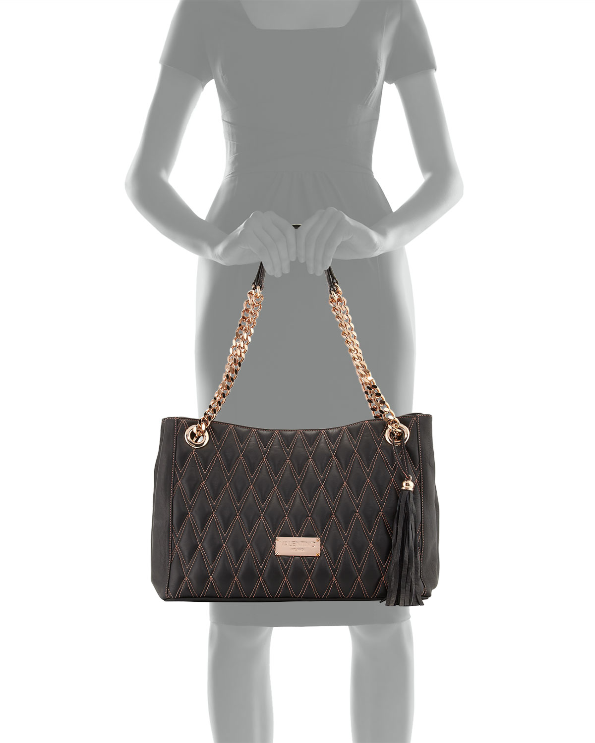 Lyst - Valentino by mario valentino Verra D Quilted Leather Tote ... : quilted black tote bag - Adamdwight.com
