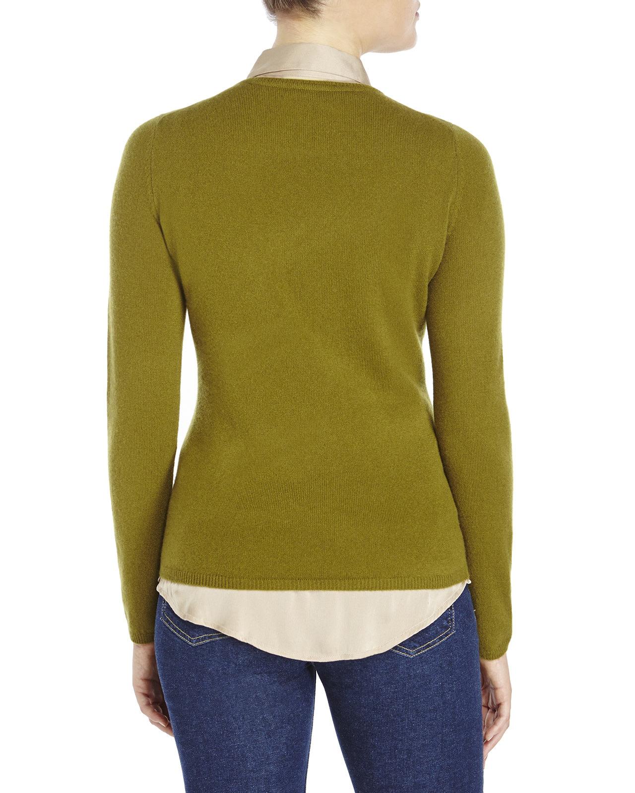 Knitting V Neck Neckband : Lyst in cashmere v neck knit sweater green