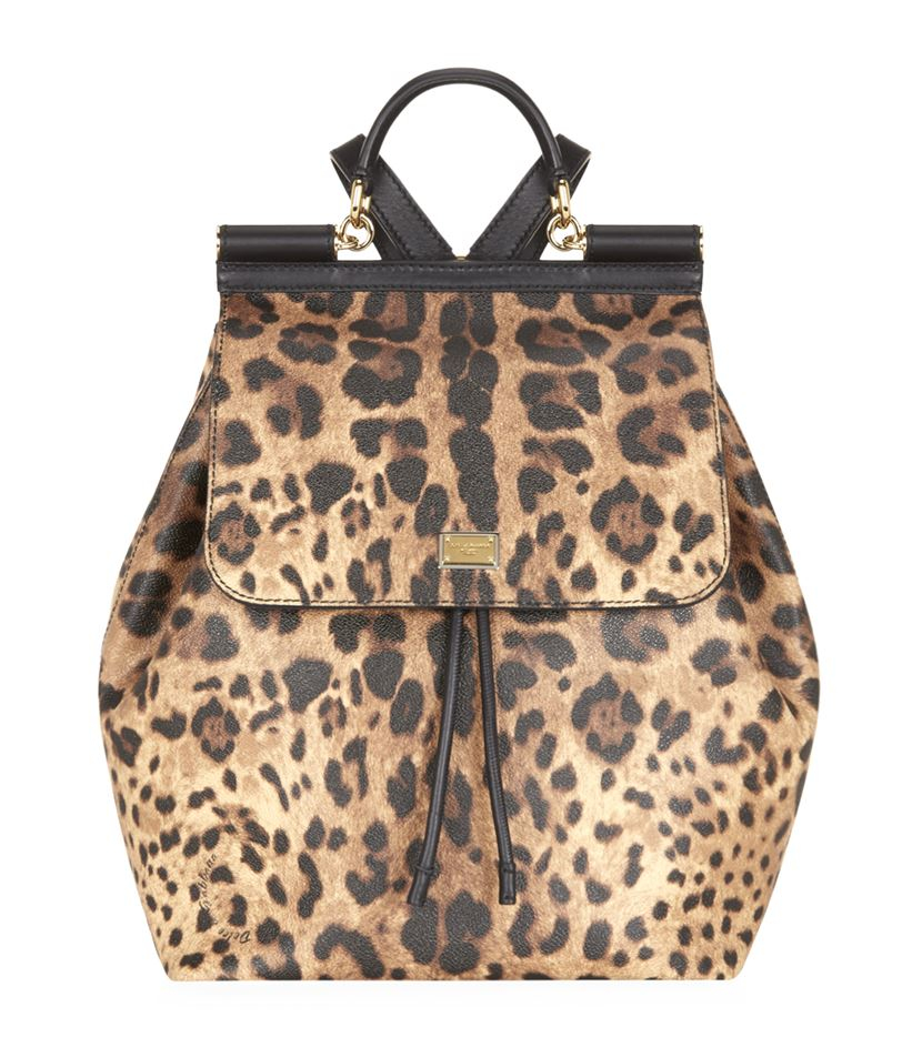 Dolce & Gabbana Leather Sicily Leopard Backpack