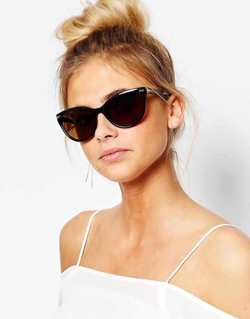 348c267c26 Ted Baker Rhea Cat Eye Sunglasses in Black - Lyst