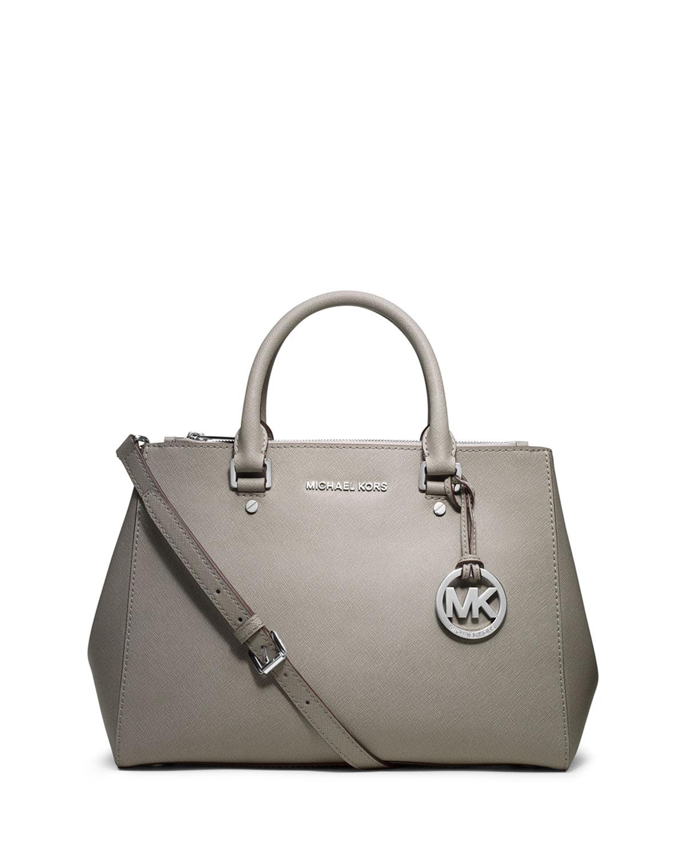 michael michael kors sutton medium satchel bag in gray pearl lyst. Black Bedroom Furniture Sets. Home Design Ideas