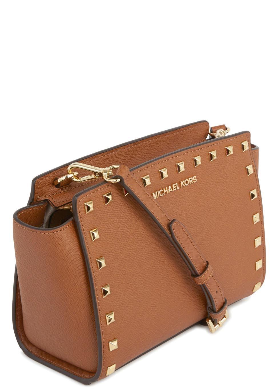 Selma Studded Tan Leather Crossbody Bag