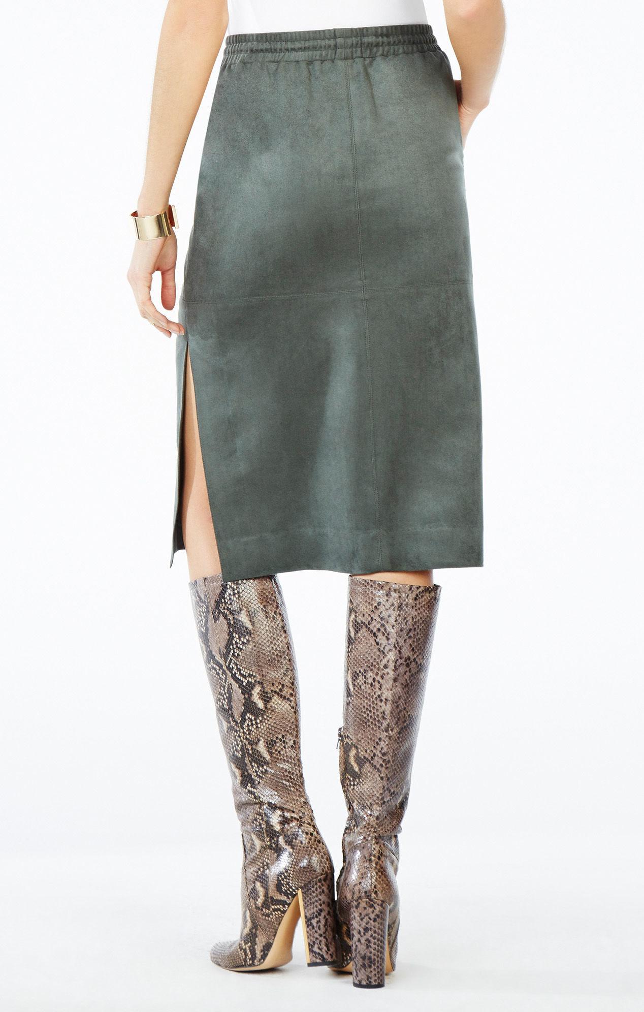 bcbgmaxazria zandra faux suede pencil skirt in green lyst