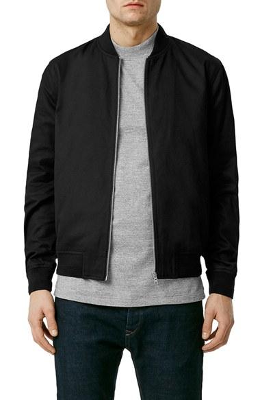 3cbb540e TOPMAN Black Cotton Bomber Jacket for men