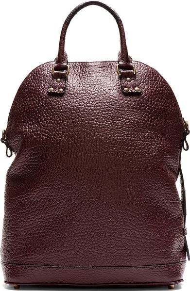 Burberry Prorsum Burgundy Grained Leather Tote Bag In Red