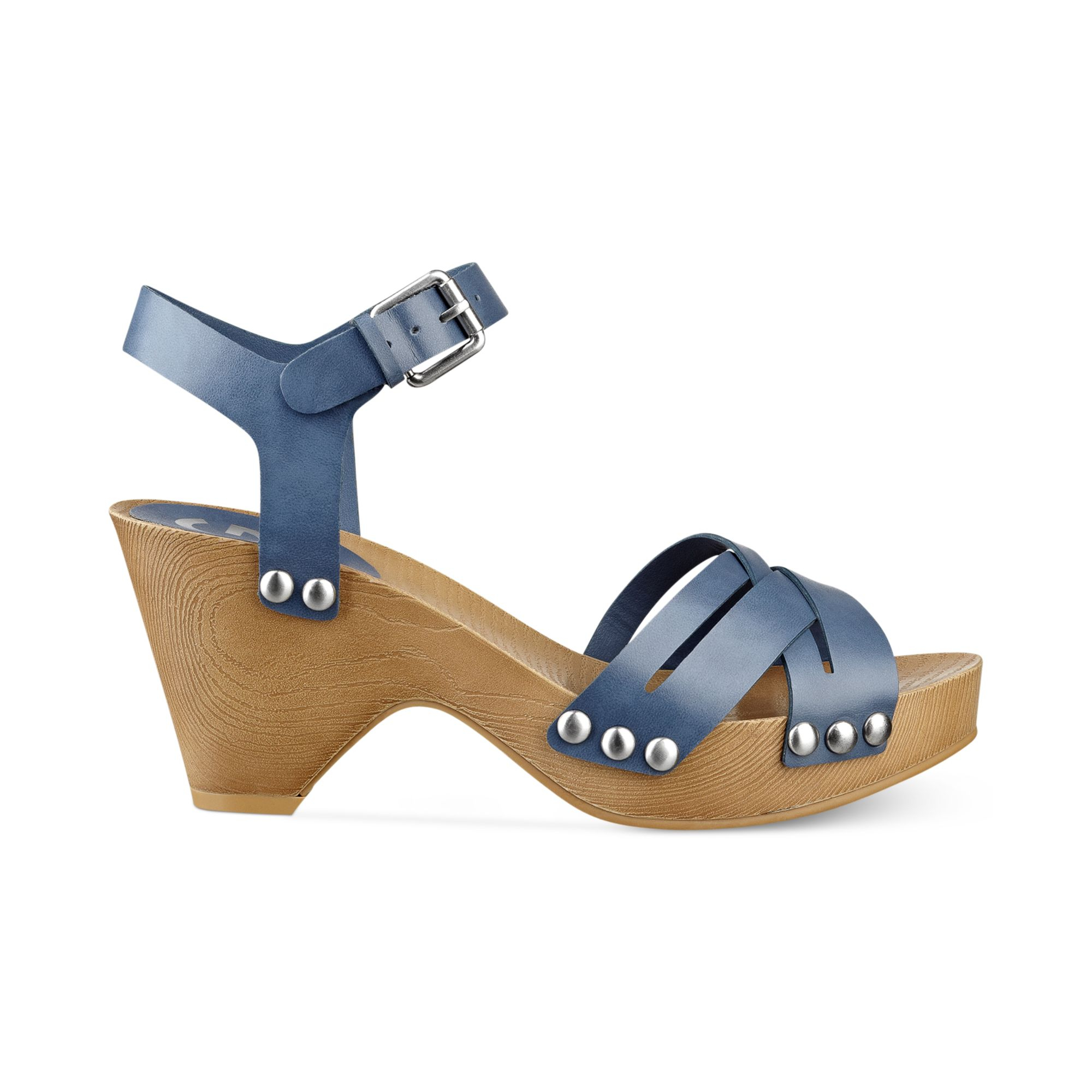 908d71b6e37df G by Guess Womens Jackal Platform Clog Sandals in Blue - Lyst