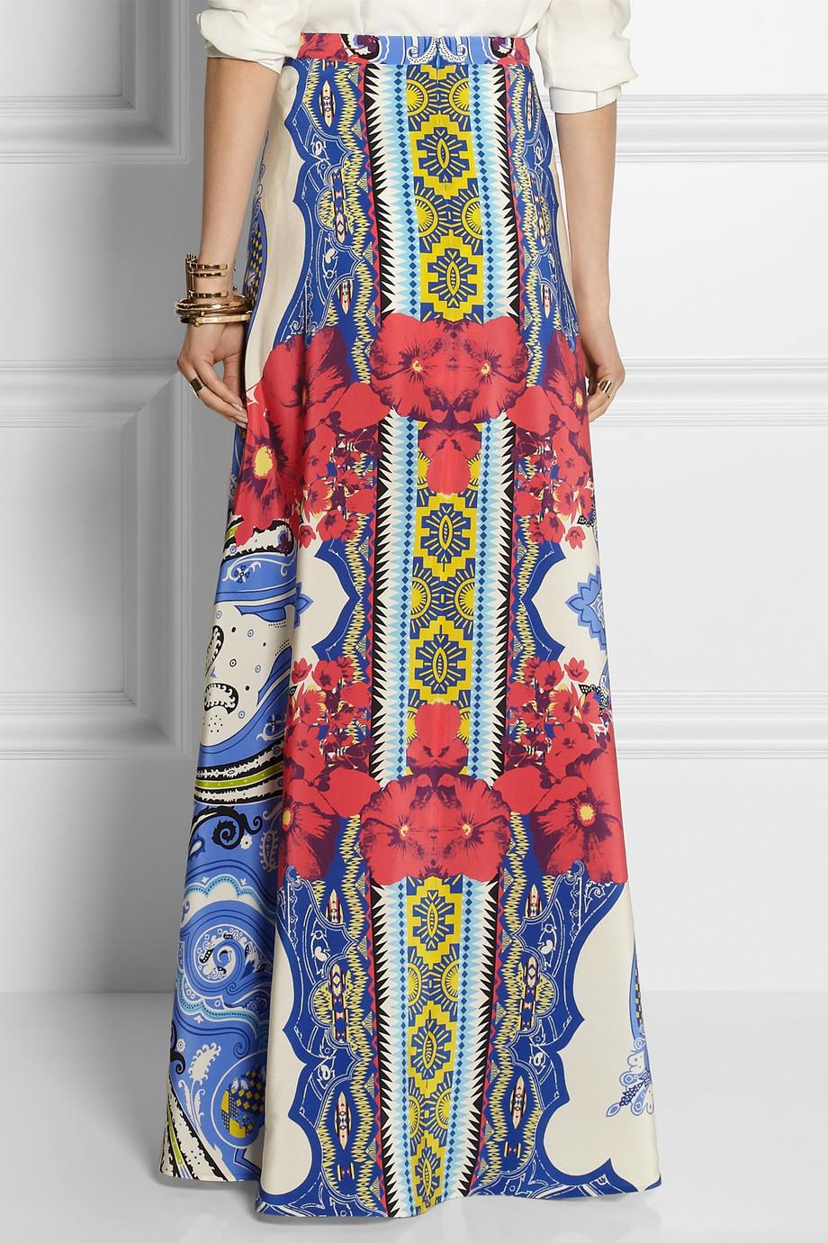 Etro Printed Silkcrepe Maxi Skirt In Blue Lyst