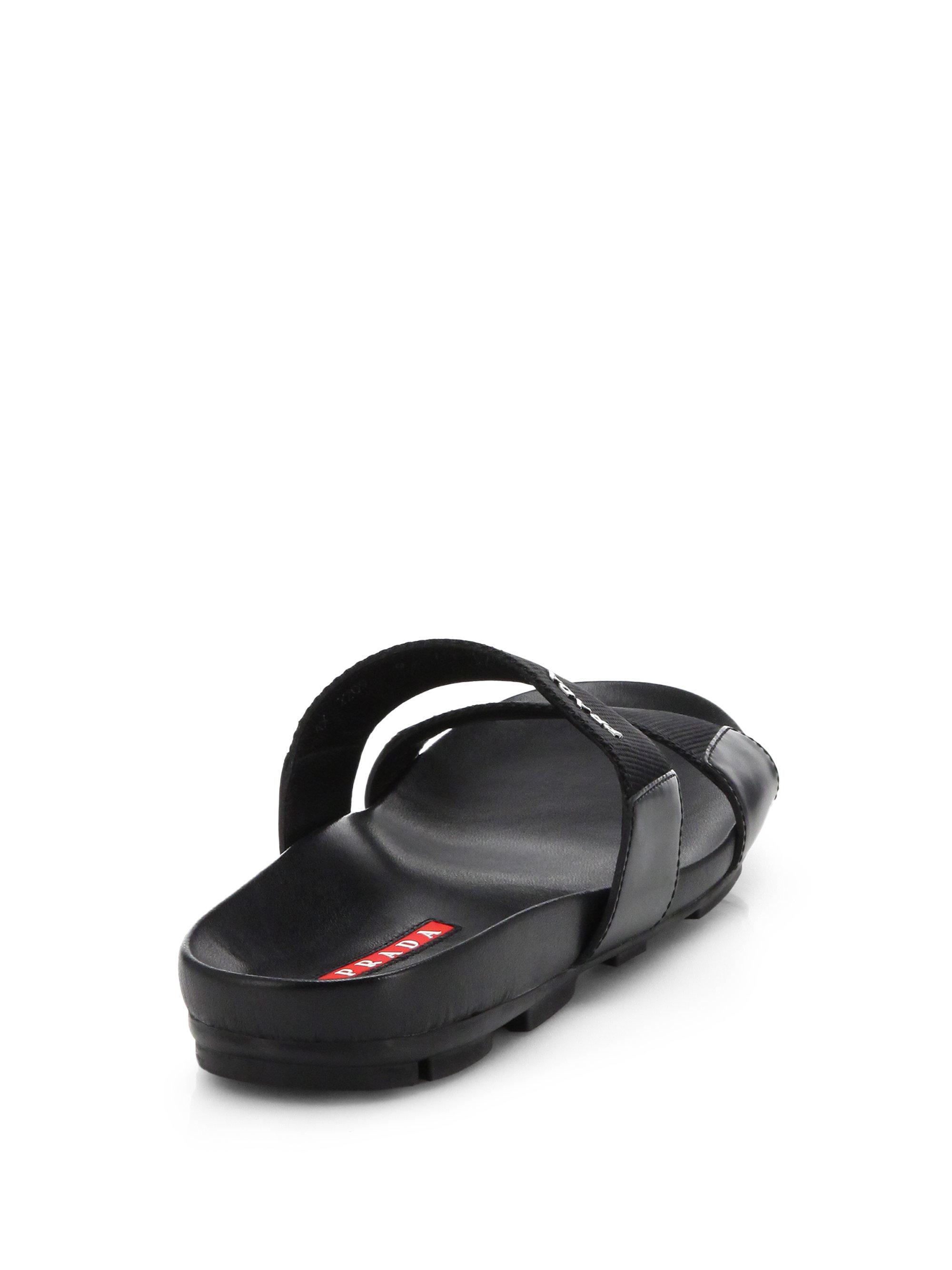 43bbede1a61f26 Lyst - Prada Double-Strap Nylon Sandals in Black for Men