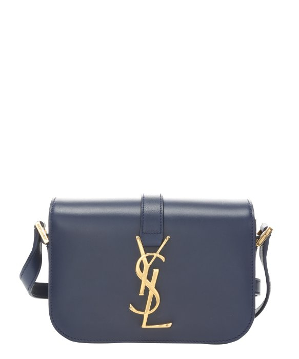 Saint laurent Marine Blue Leather \u0026#39;Ysl\u0026#39; Logo Mini Crossbody Bag in ...