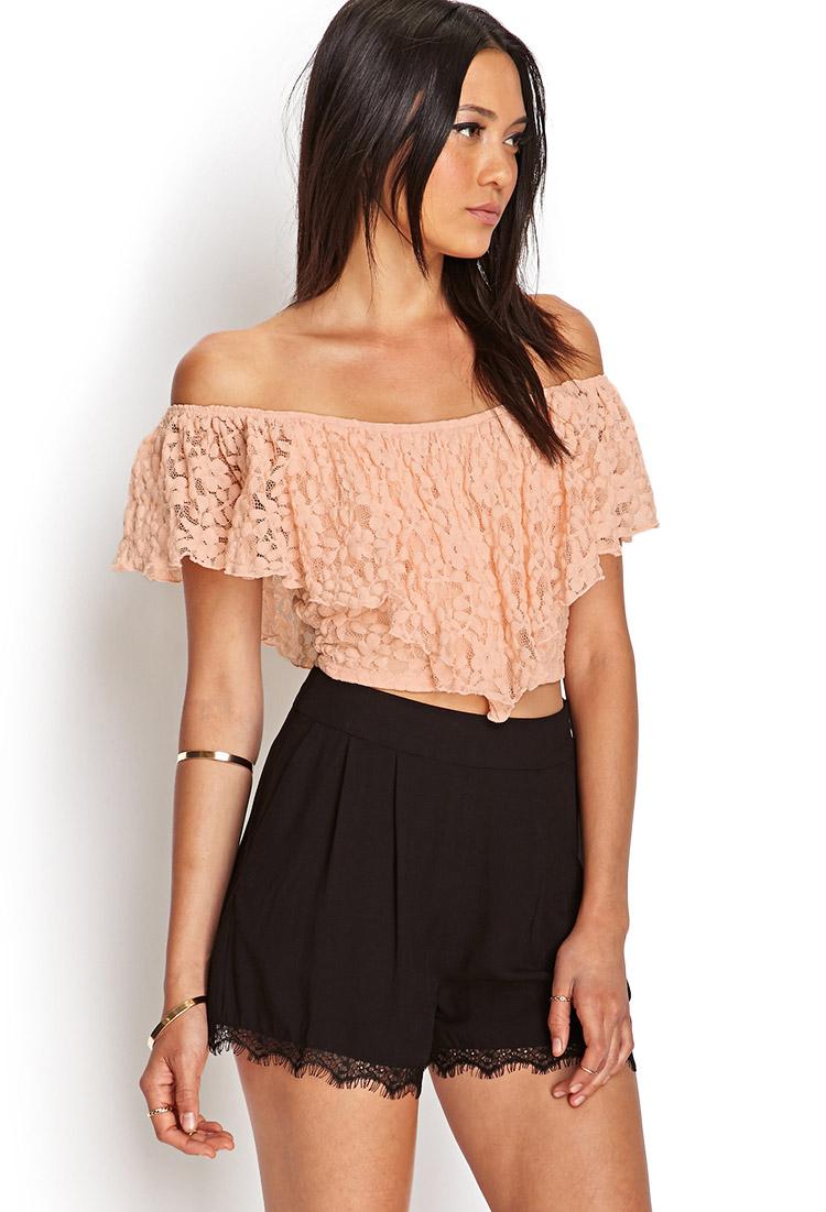 Forever 21 Crochet Lace Crop Top In Peach Orange Lyst
