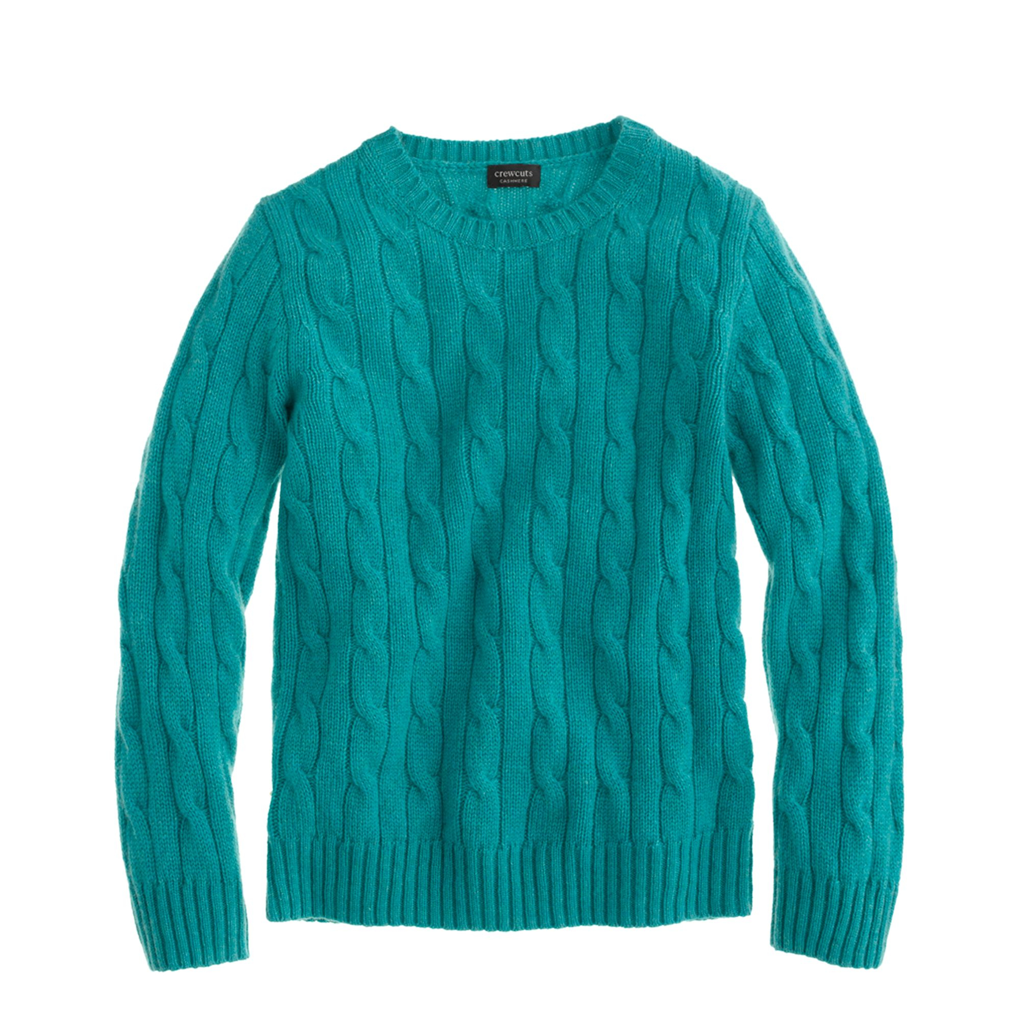 J.crew Kids Cashmere Cable Crewneck Sweater in Blue for Men | Lyst