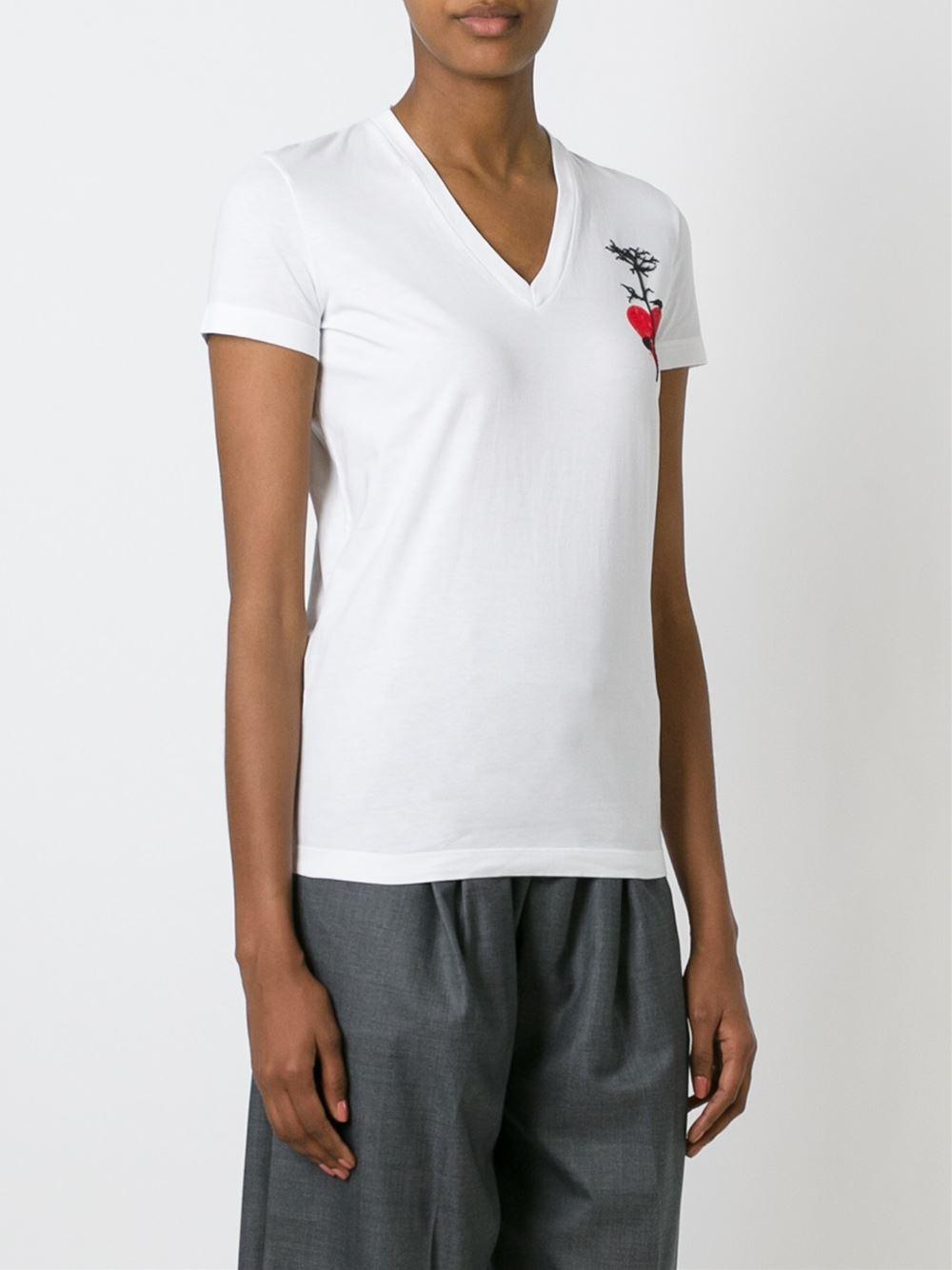 Dsquared v neck t shirt in white lyst for White t shirt v neck