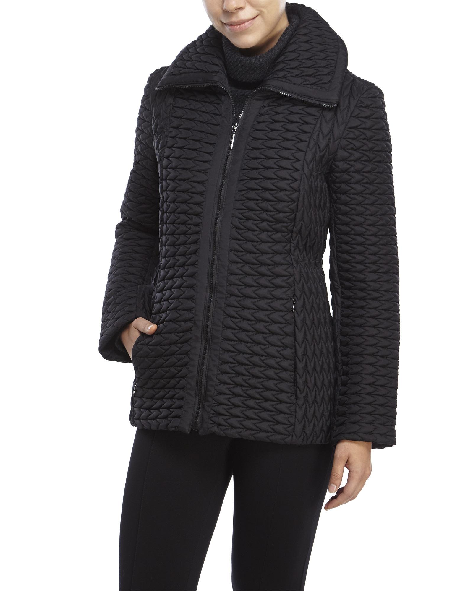 Anne Klein Popcorn Quilted Jacket In Black Lyst