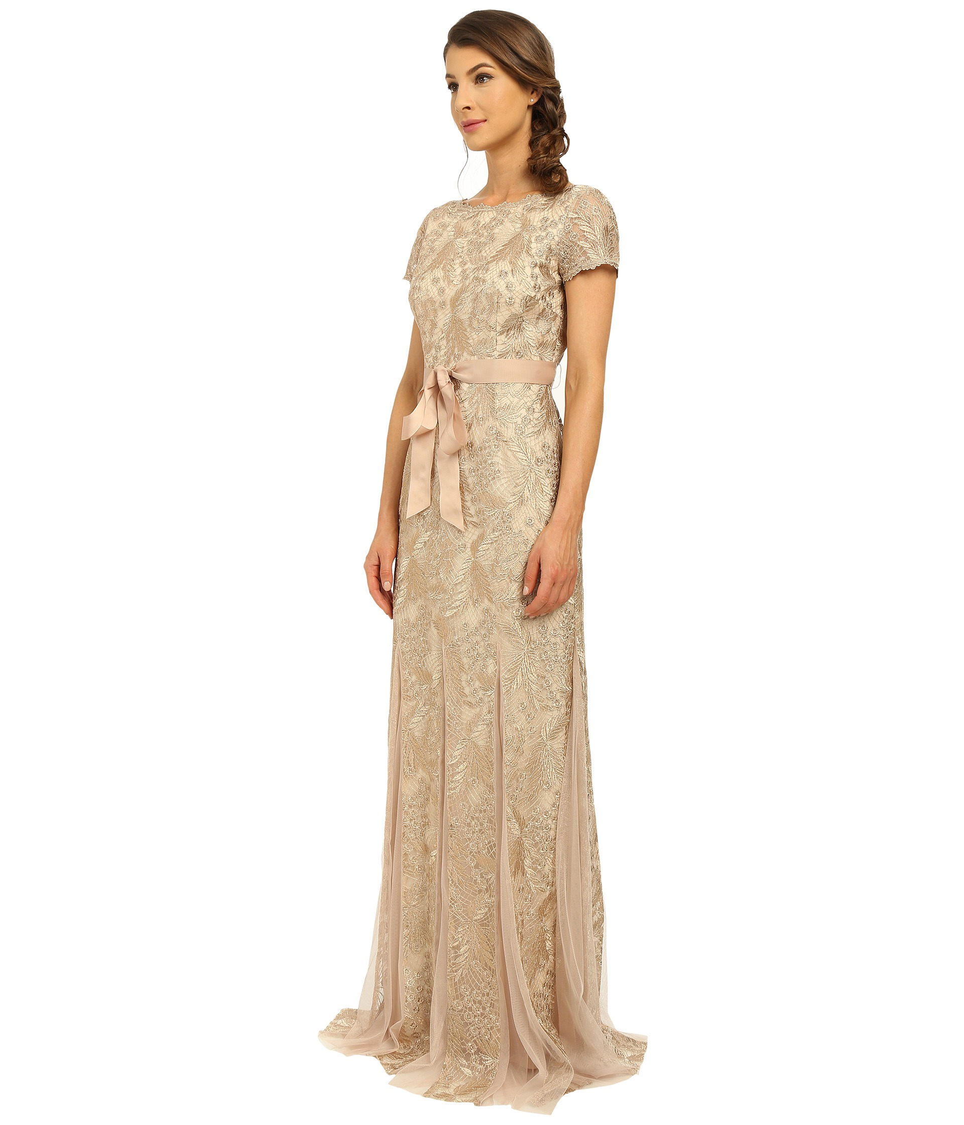 Lyst - Adrianna Papell Metallic Embellished Gown With Godets in Brown