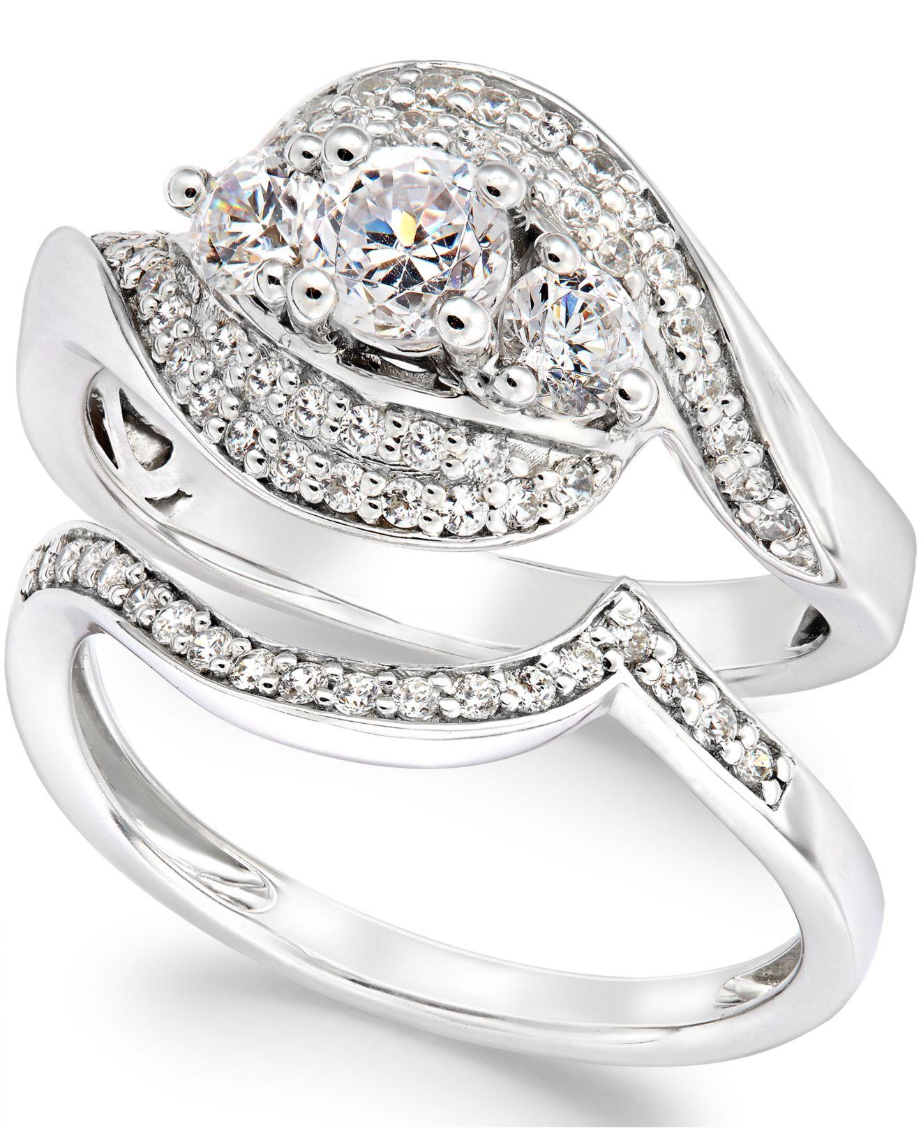 Macy s Diamond Bridal Set In 14k White Gold 1 Ct T w in Gray