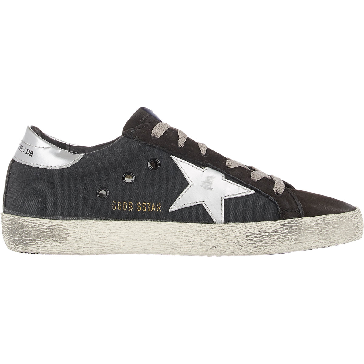 Golden Goose Womens Black Paneled Running Sneakers in Black - Golden Goose Outlet