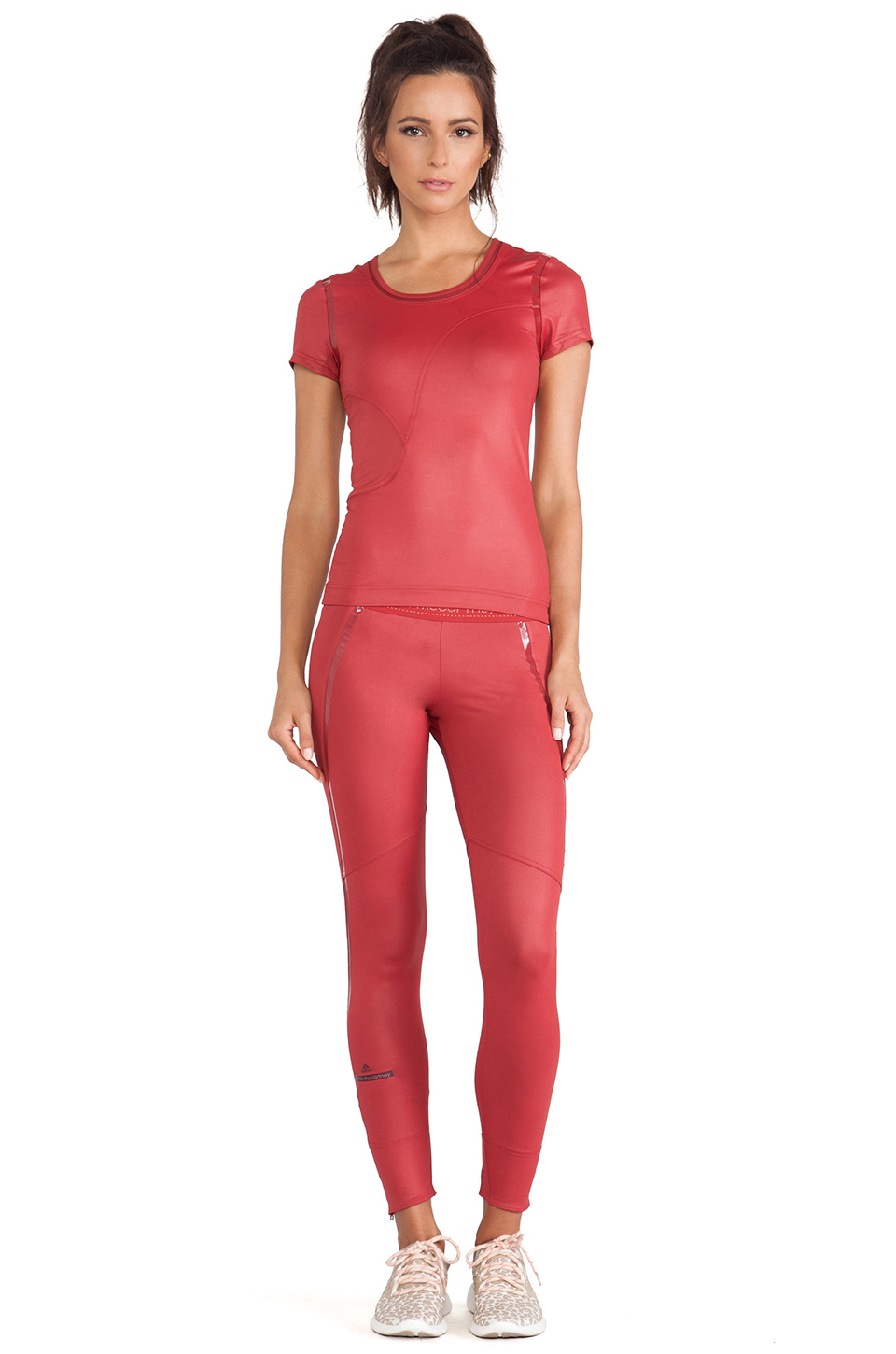 Adidas by stella mccartney Perforated Running Tights in Red | Lyst