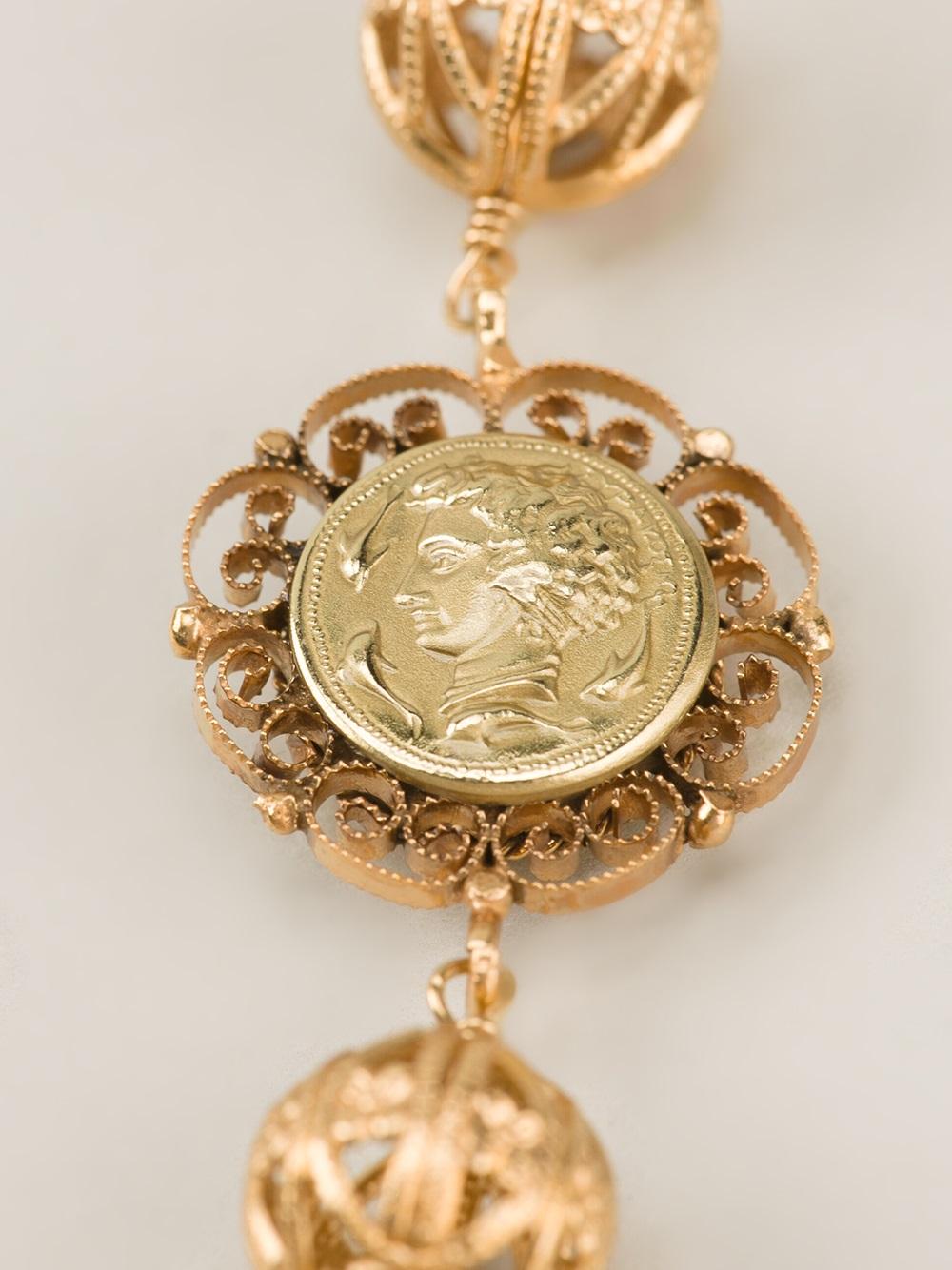 Dolce & Gabbana Cameo Coin Necklace in Metallic