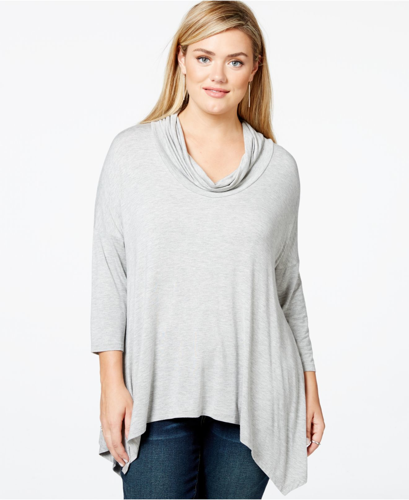 Lyst Soprano Plus Size Cowl Neck Handkerchief Hem Top In