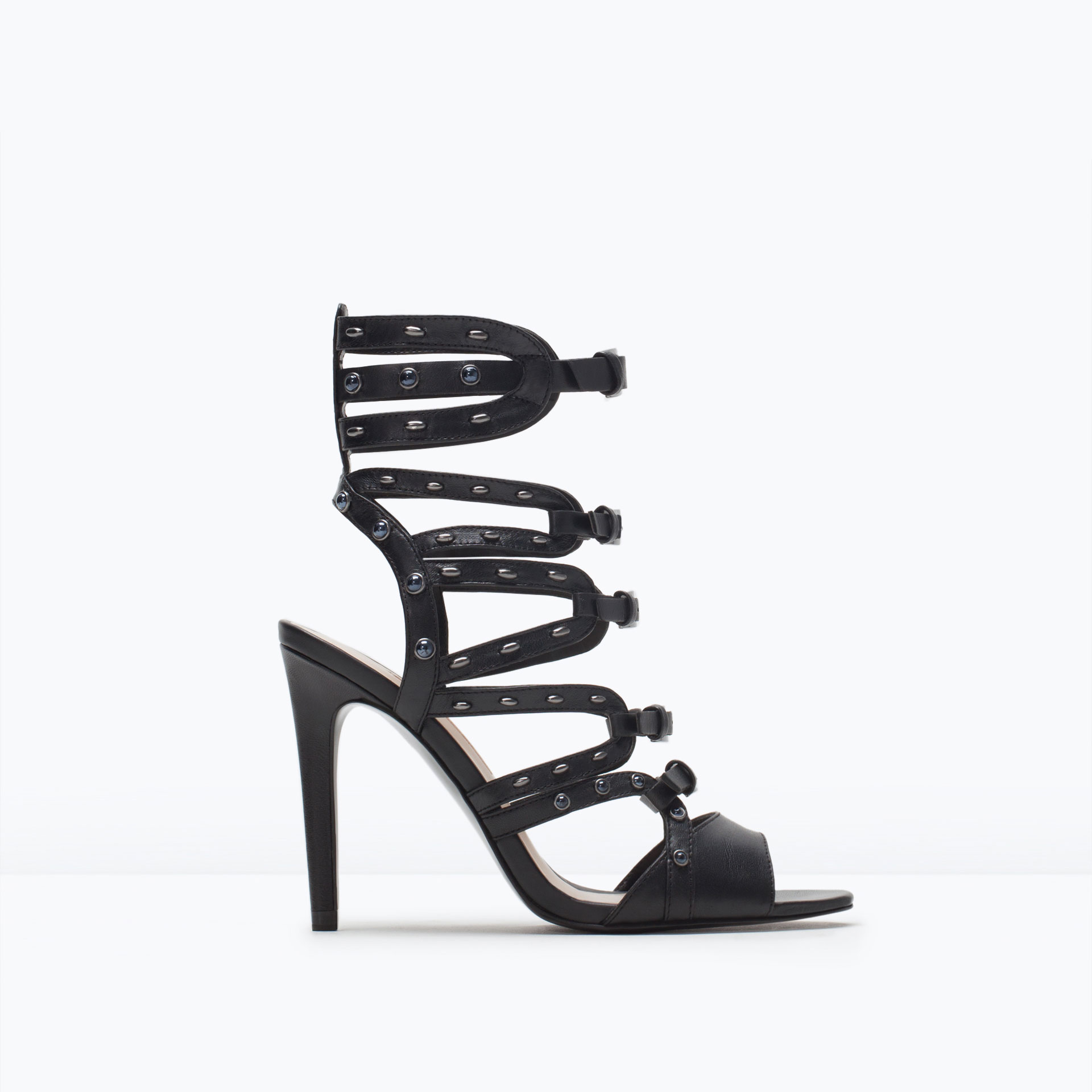 Zara Black Leather High Heel Gladiator Sandals. in Black | Lyst