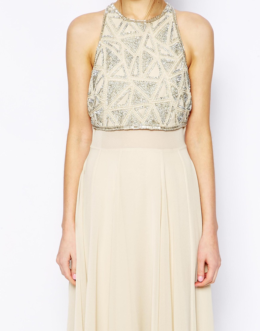 264bb54018b ASOS Maxi Dress With Embellished Crop Top in Natural - Lyst