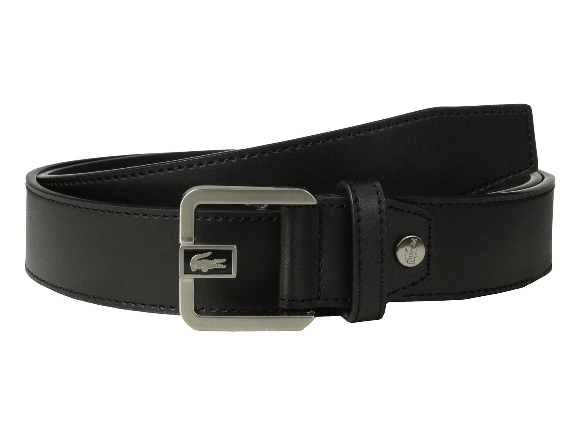 lacoste premium leather dress belt metal croc in black lyst