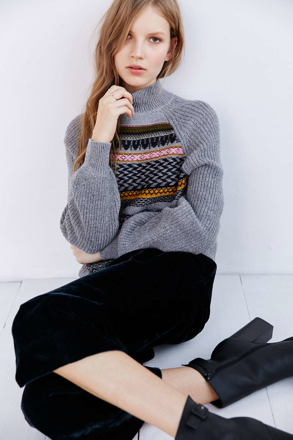 Ecote Movie Night Fair Isle Sweater in Gray | Lyst