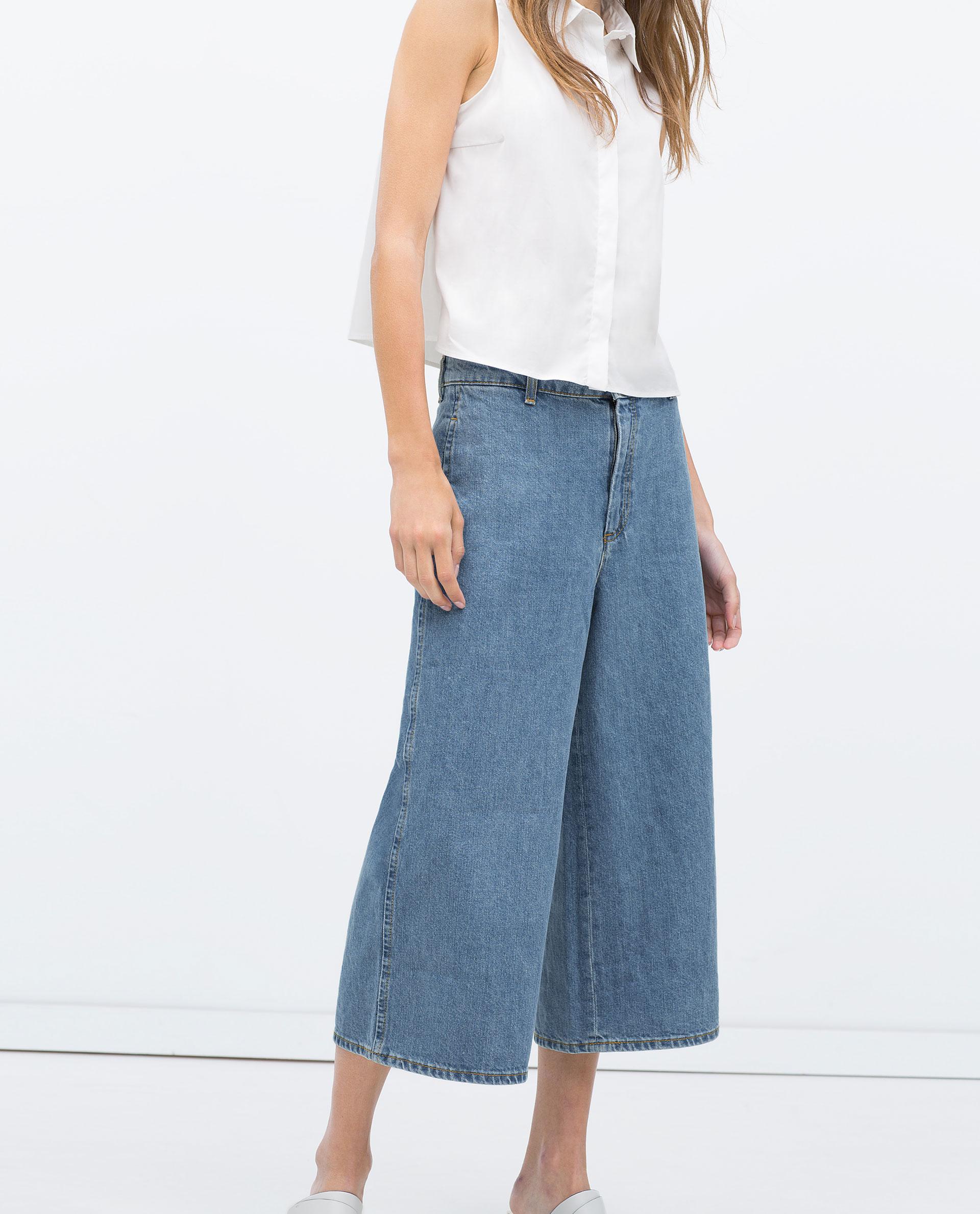 Zara Denim Culottes In Blue Lyst