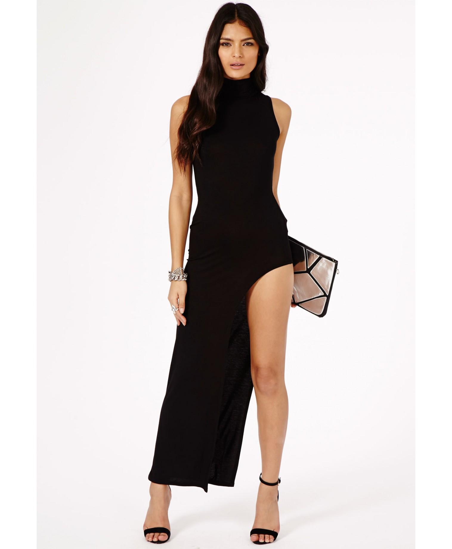 Black dress side split