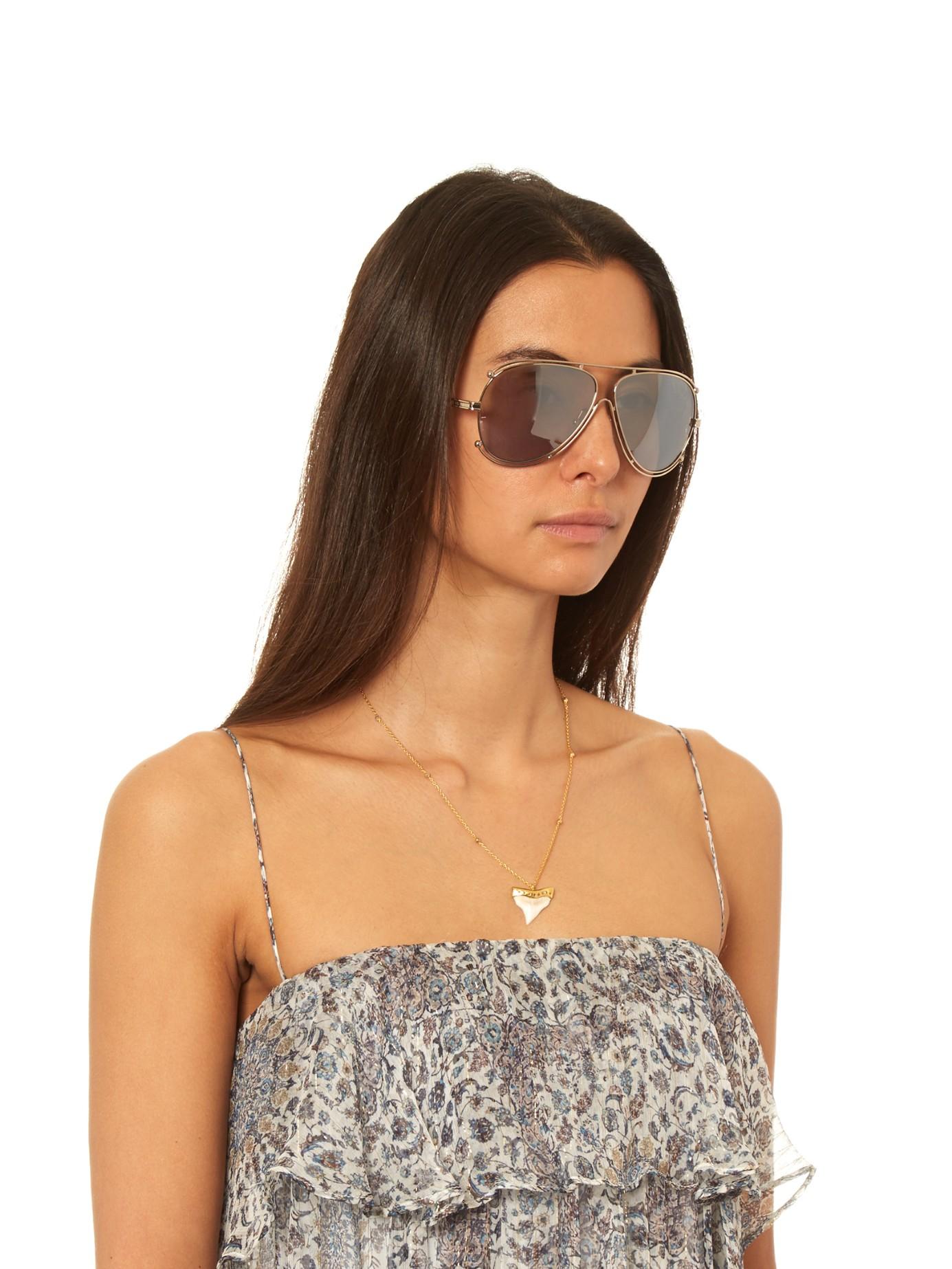 Chloe Aviator Sunglasses  chloé isidora aviator sunglasses in metallic lyst