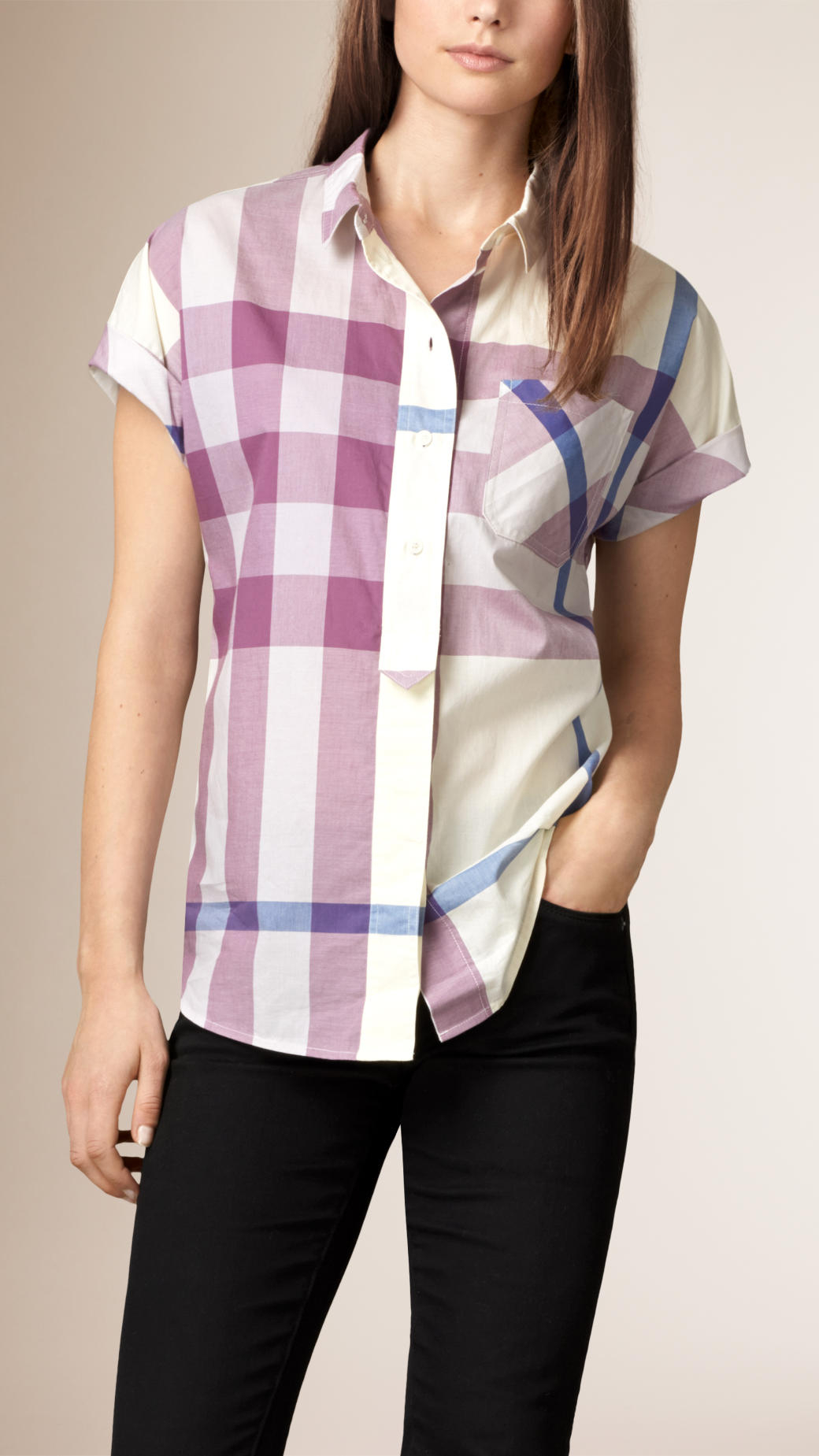 54e4c42172c Burberry Exploded Check Cotton Voile Shirt in Purple - Lyst