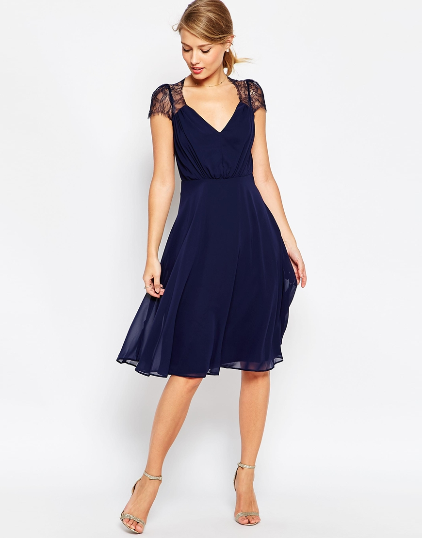 Asos Kate Lace Midi Dress In Blue Navy Lyst