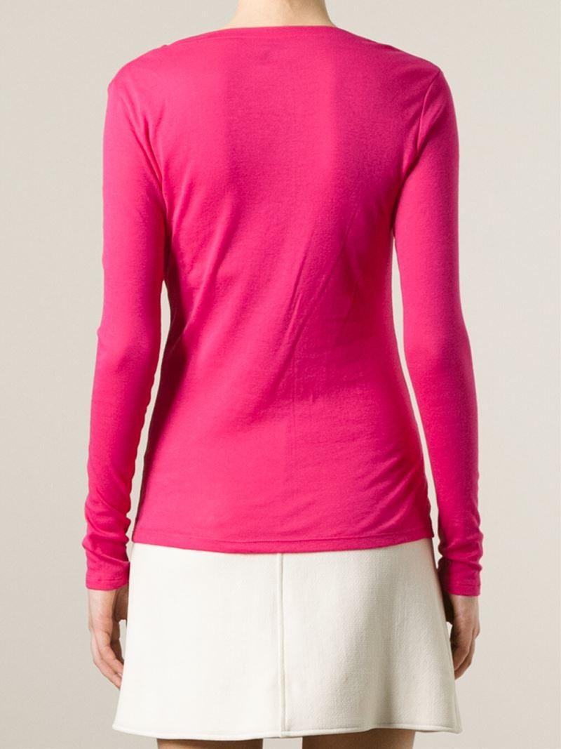 lyst petit bateau longsleeved t shirt in pink. Black Bedroom Furniture Sets. Home Design Ideas