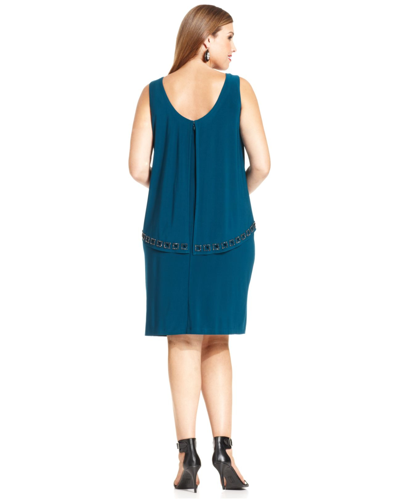 Plus Size Bead-trim Overlay Dress